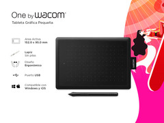 - Tableta Wacom One Small CTL472 Negro/Rojo